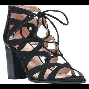 Franco Sarto Black Suede Gladiator Sandals